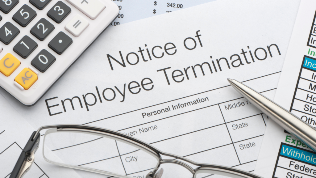 notice of employee termination document white form, covid-19 guidelines